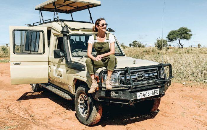 Annette White on safari in africa