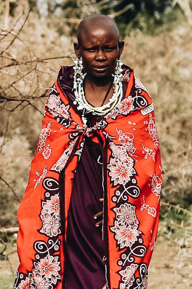 Maasai woman dressed in cultural clothes