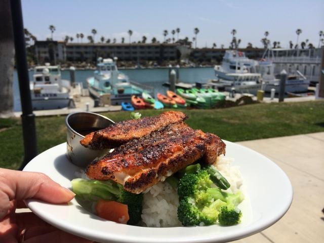 Eating Fish in Oxnard, California Channel Islands Harbor