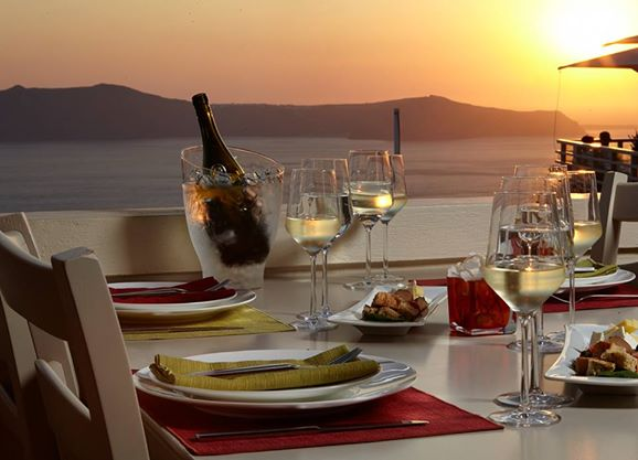 Assyrtico Restaurant Overlooking Santorini Caldera Sunset