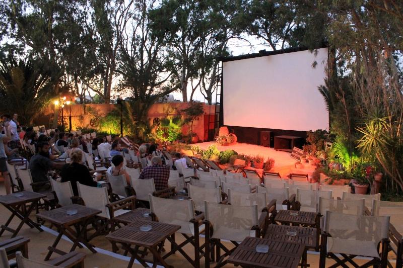 Kamari's Open Air Cinema in Santorini