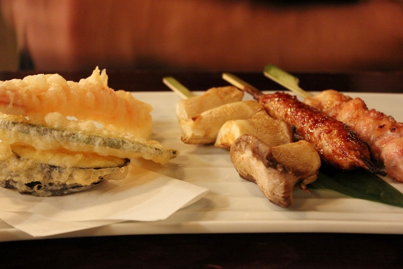 Tempura and Skewers at Kill Bill Gonpachi Restaurant in Tokyo