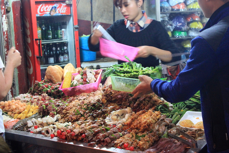 Raw Skewers at a Hanoi, Vietnam BBQ Restaurant