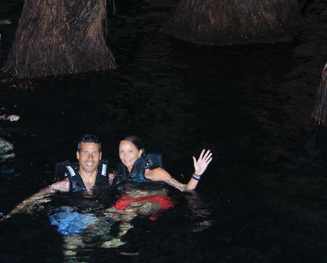 Annette White Swimming in a Cenote in Cancun, Mexico