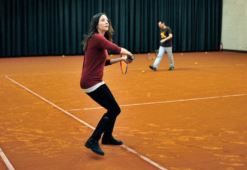 Annette White playing tennis at Stejarii in Bucharest, Romania