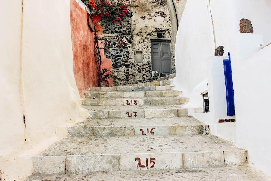 Steps From Oia to Amoudi Bay in Santorini, Greece