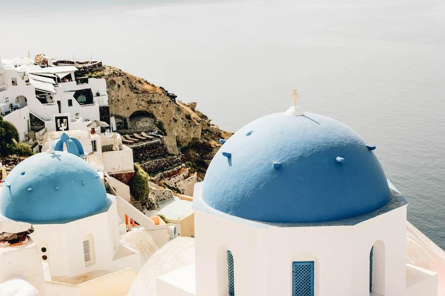 Blue-Domed Roofs in Santorini Greece