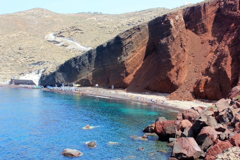 Things to do in Santorini: Swim at the Red Sand Beach