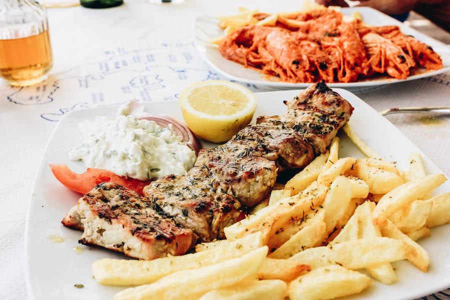 Dish at a traditional Greek Traverna restaurant in Santorini