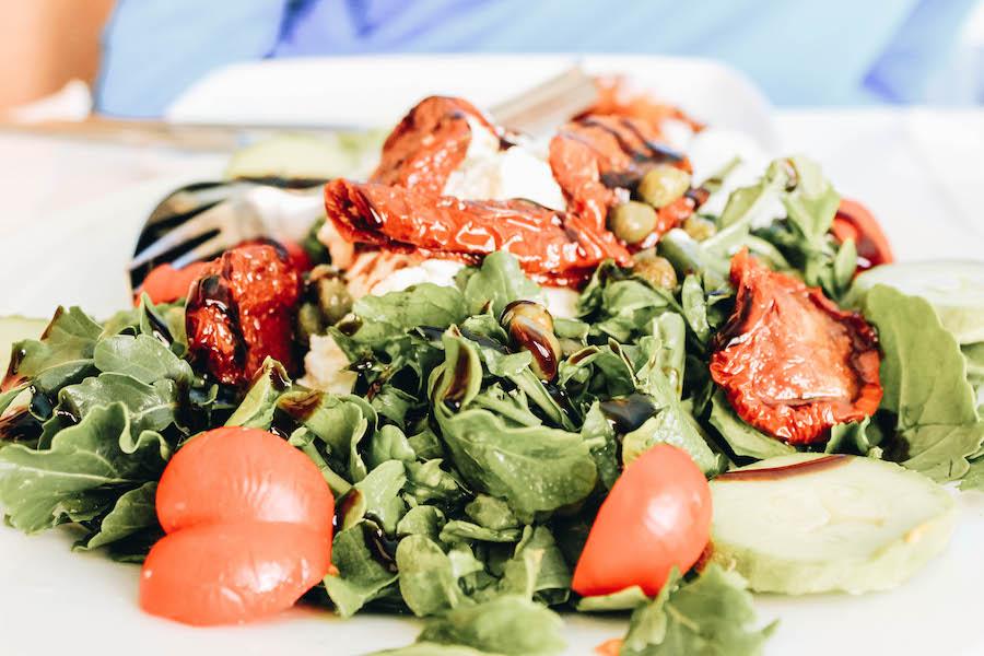 The best santorini salad at a Greek Taverrna