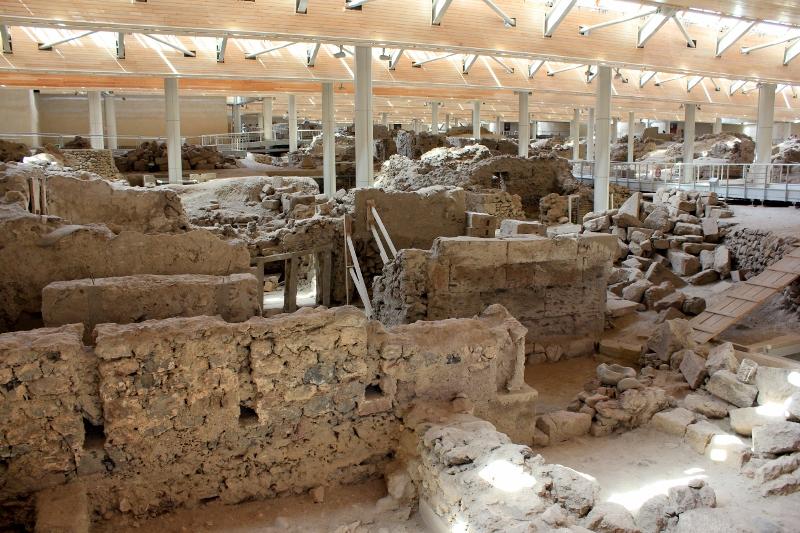 Exploring an archaeological site in santorini, Greece