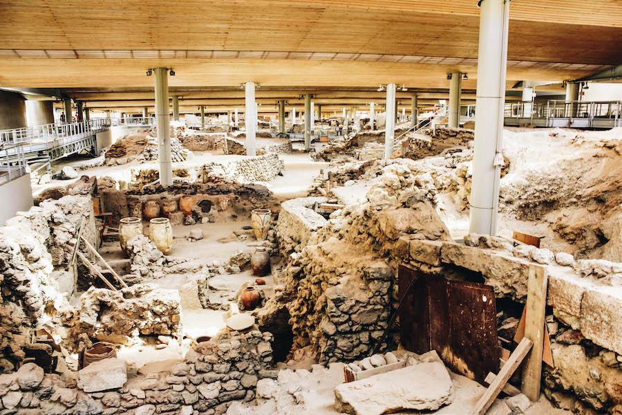 Akrotiri archaeological excavation site on Santorini