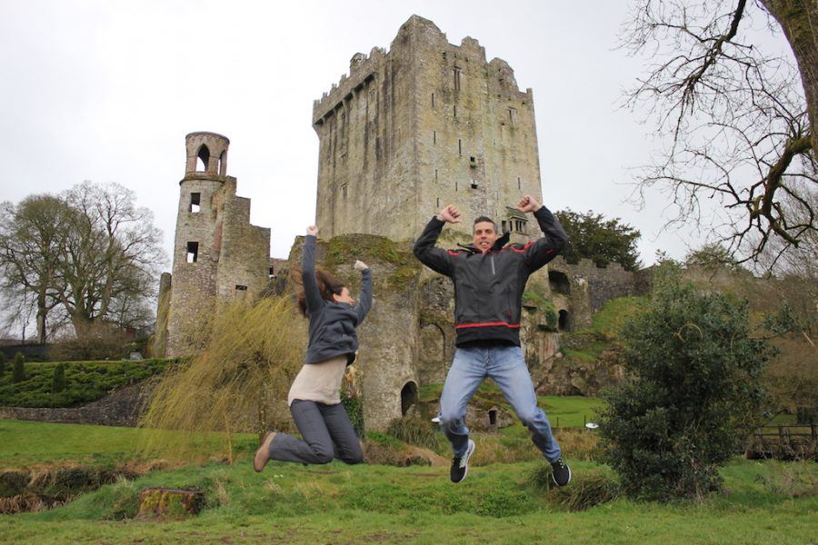 Just about to Kiss the Blarney Stone at Blarney Castle in Ireland