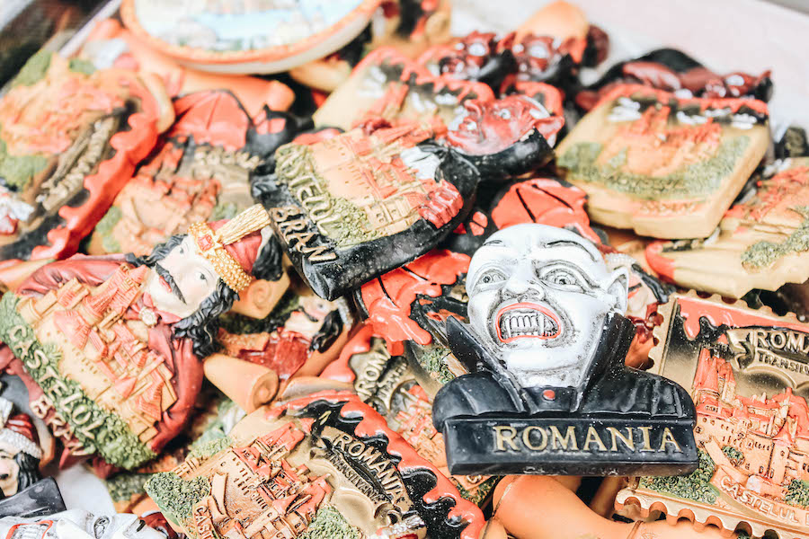 Dracula souvenirs at Bran Castle gift stall