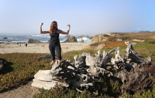 Annette White showing her muscles at Glass Beach Fort Bragg , Mendocino