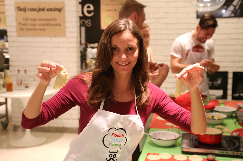 Annette Making Pierogi at a Polish Cooking Class in Warsaw, Poland