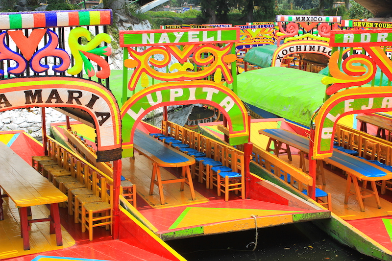 Riding Trajinera Gondolas in Xochimilco