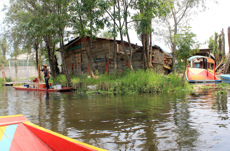 Riding on a Trajinera Gondolas in Xochimilco