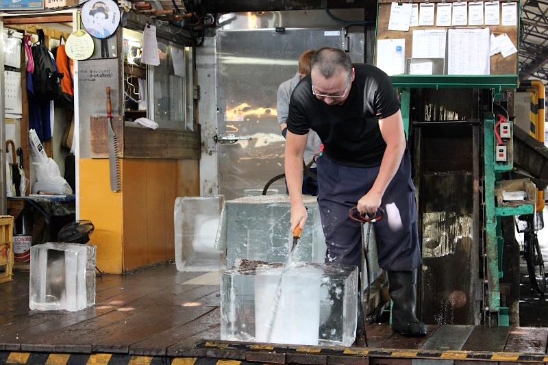 Chipping Ice at Tsukiji Fish Market in Tokyo