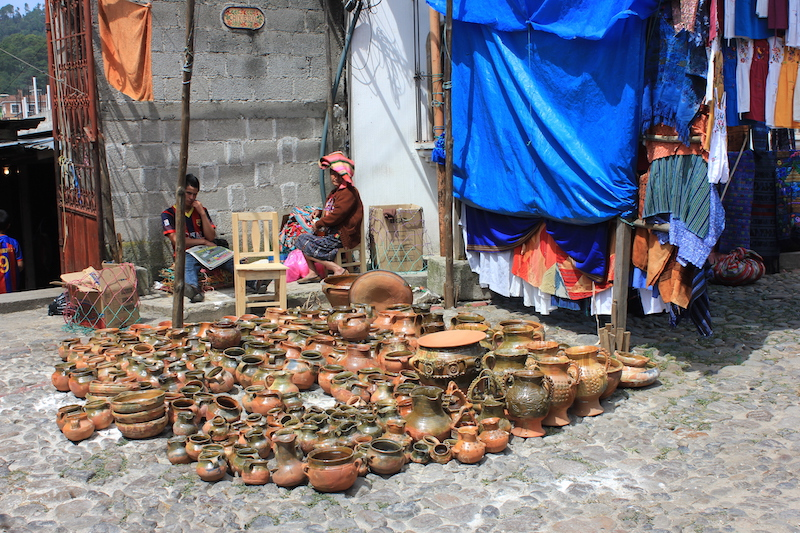 Pottery for sale at Chichi Market at Chichicastenango Guatemala