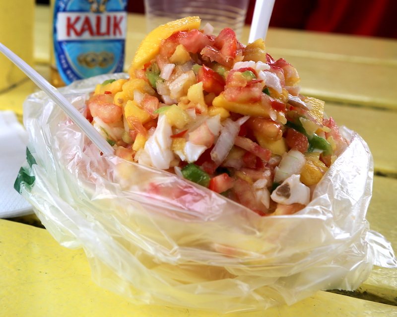 A conch salad in the Bahamas on Exuma Island