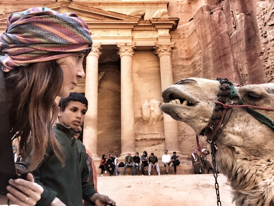 Camel selfies at Petra in Jordan