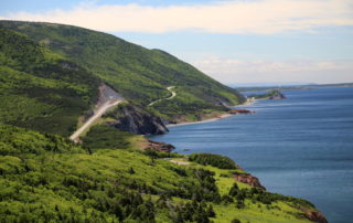 A lookout point along the Cabot Trail. Inside Cape Breton Highlands National Park.