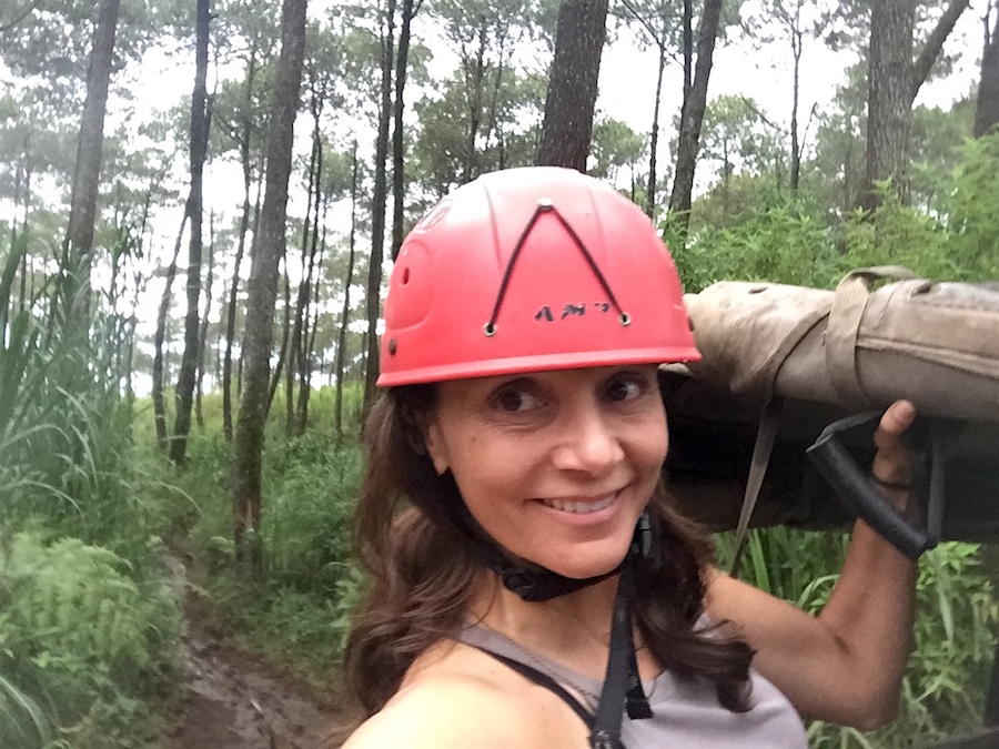 Annette White in her helmet while off-roading in Bandung, Indonesia