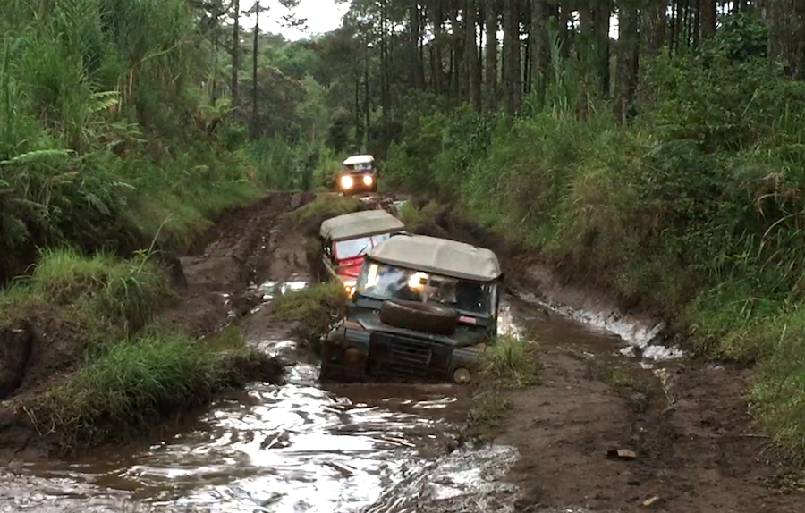 off-roading through the water in Bandung, Indonesia