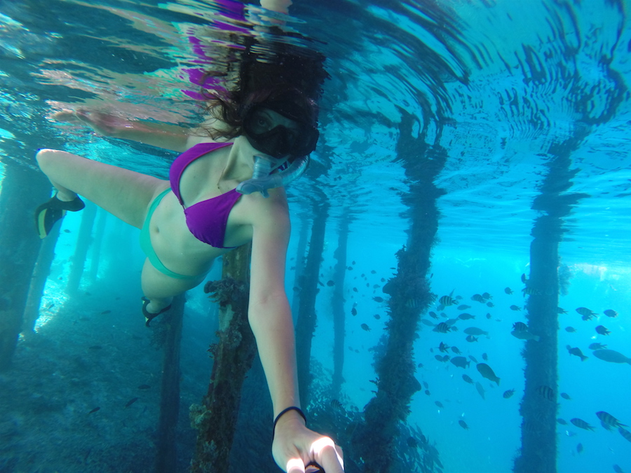 Annette White snorkeling in Arborek Village in Raja Ampat