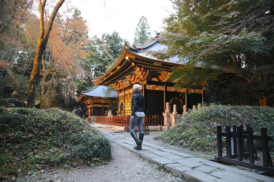 Annette White at the The Zuihoden Mausoleum in Sendai, Japan