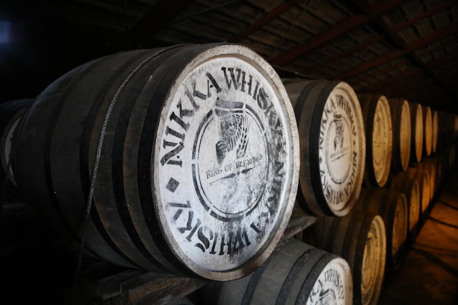 Wine barrels at Nikka Whiskey plant in Sendai