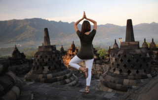 Annette White at Borobudur Temple Yogyakarta Indonesia