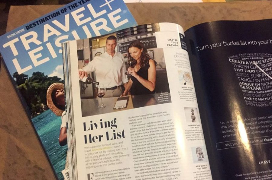 Peter & Annette White in a Chase Ad in Travel + Leisure Magazine