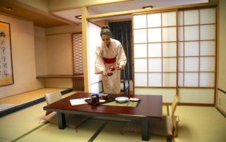 Annette White inside Hotel Sakan Ryokan Sendai Japan