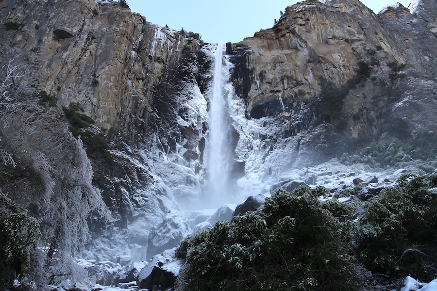 Bridalveil Falls in Yosemite Valley National Park in the Winter