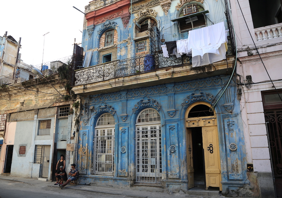 The vintage buildings in Havana, Cuba