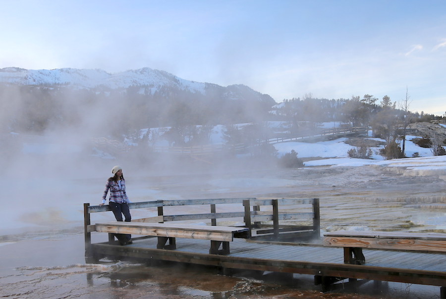 Annette White at Mammoth Hot Springs in Montana's Yellowstone Country