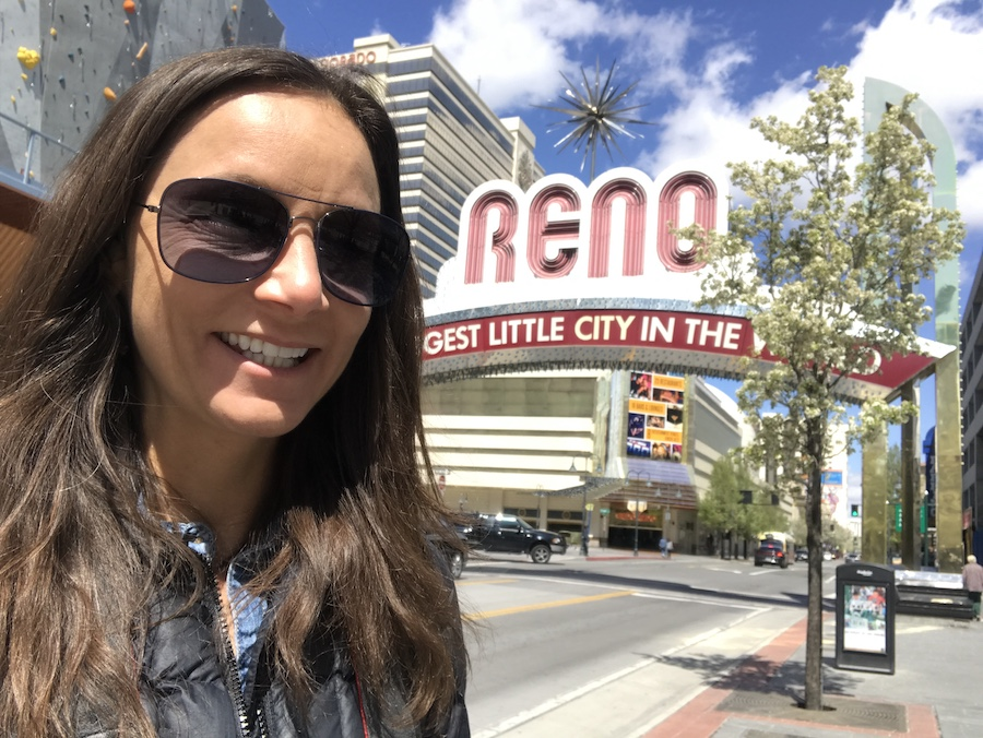 Annette Slowik White at the Reno Arch in Nevada