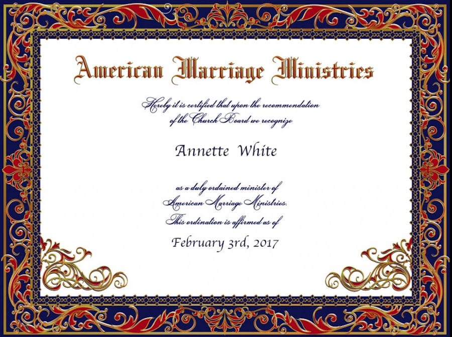 Simple and Cheap (or Completely Free!) Bucket List Ideas: Annette White's Ordination Certificate