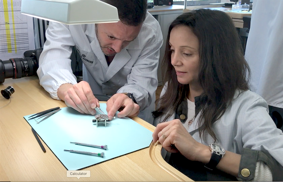 Annette White learning to make luxury watches at Roger Dubuis in Geneva Switzerland