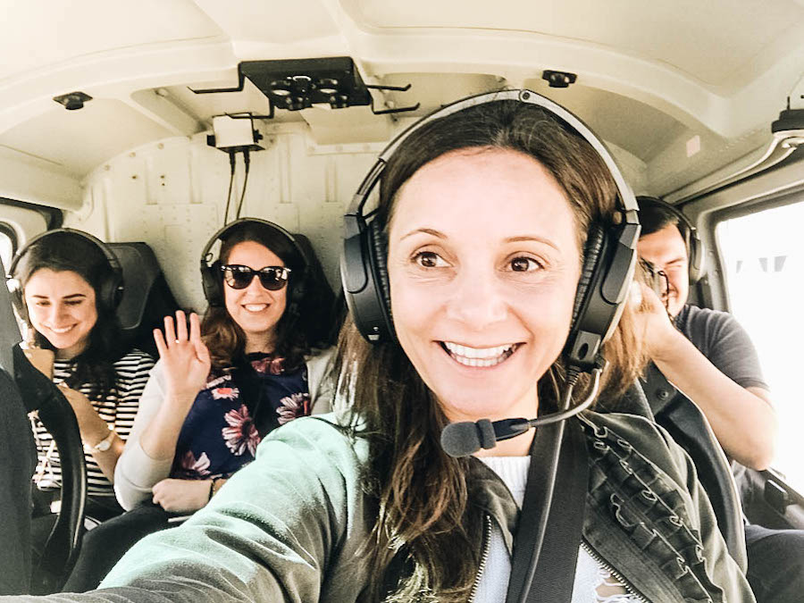 Annette White in a helicopter in Geneva