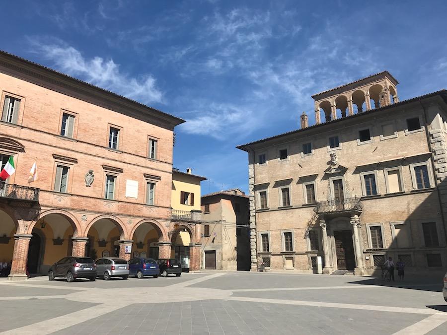 Central piazza in Mercatello sul Metauro in Le Marche, Italy