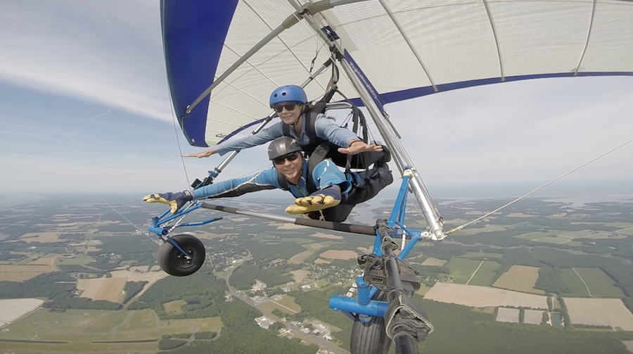 Annette White Hang gliding in the Eastern Shore of Virginia