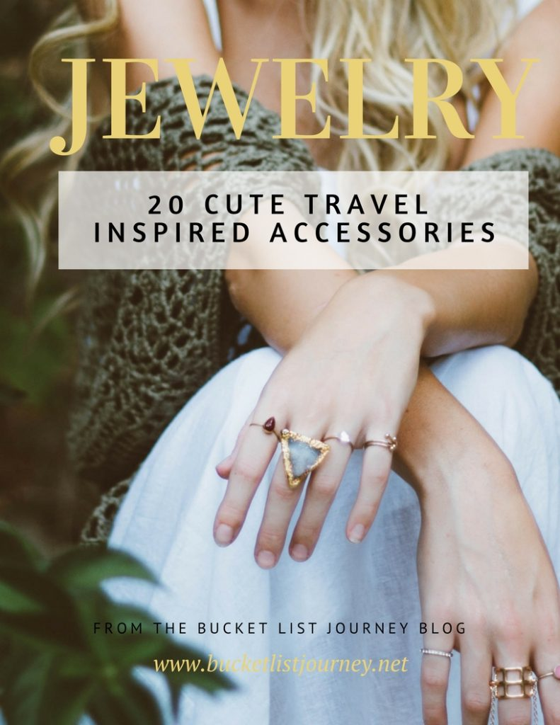 20 Cute Travel Inspired Jewelry Accessories: Necklaces, Bracelets, Rings and Earrings for the Traveler | Gift Idea