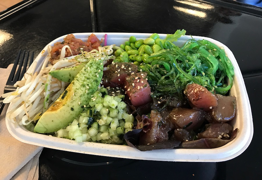A poke bowl along the central coast of California