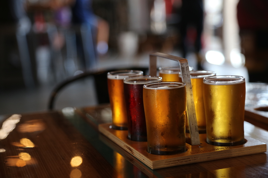 The beer flight at Draughtsman Aleworks in Goleta, California