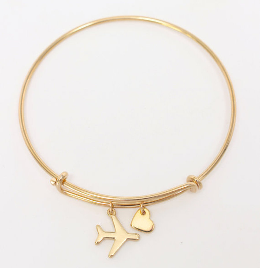 Airplane and Heart Bangle Bracelet
