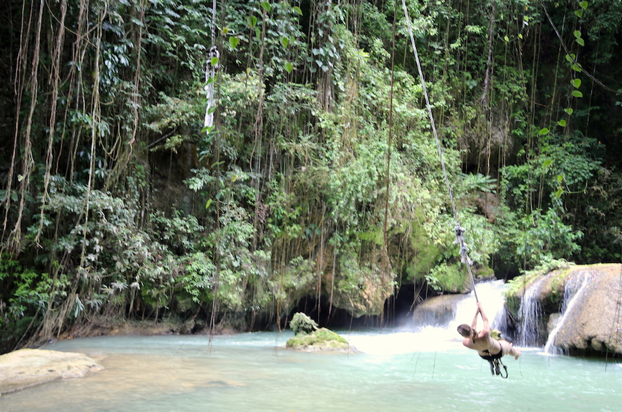 The rope swing at YS Falls in Jamaica