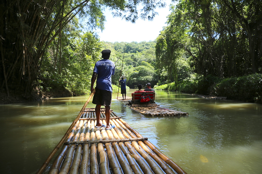 bamboo rafting the Martha Brae river in Jamaica